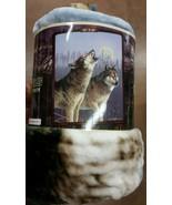 Wolf Wolves Howlıng American Heritage Woodland Royal Raschel Throw blanket - $23.75