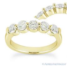 Round Cut Moissanite 14k Yellow Gold Single-Prong Anniversary Ring Weddi... - €449,78 EUR+