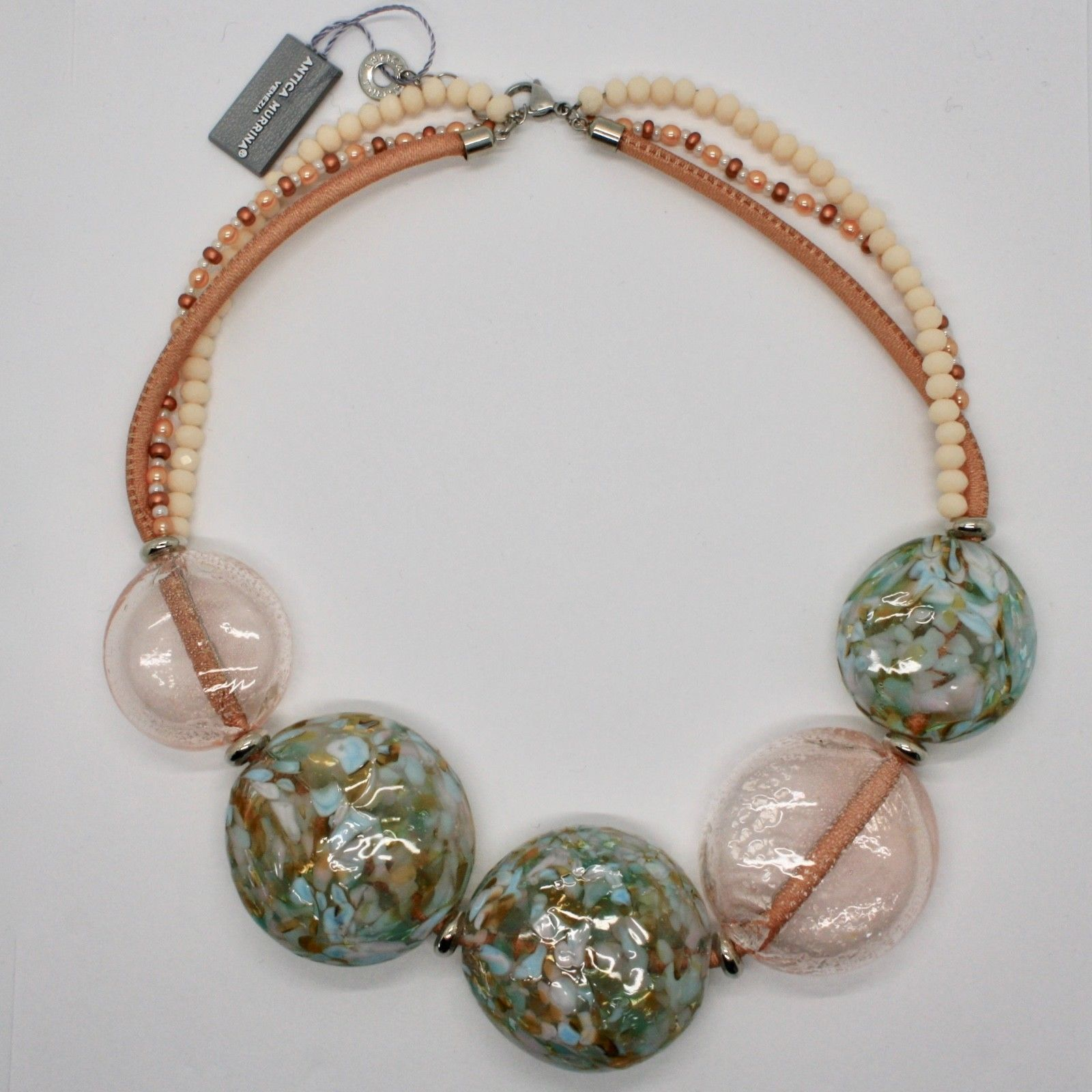 ANTICA MURRINA VENEZIA NECKLACE WITH BIG DISC OF MURANO GLASS BEIGE COA75A03