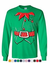 Elf Shirt Long Sleeve T-Shirt Funny Christmas Xmas New Year Holiday - $10.39+