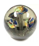 Vintage Italian Murano Glass 3D Paperweight Multi Colored Floral Design - $34.65