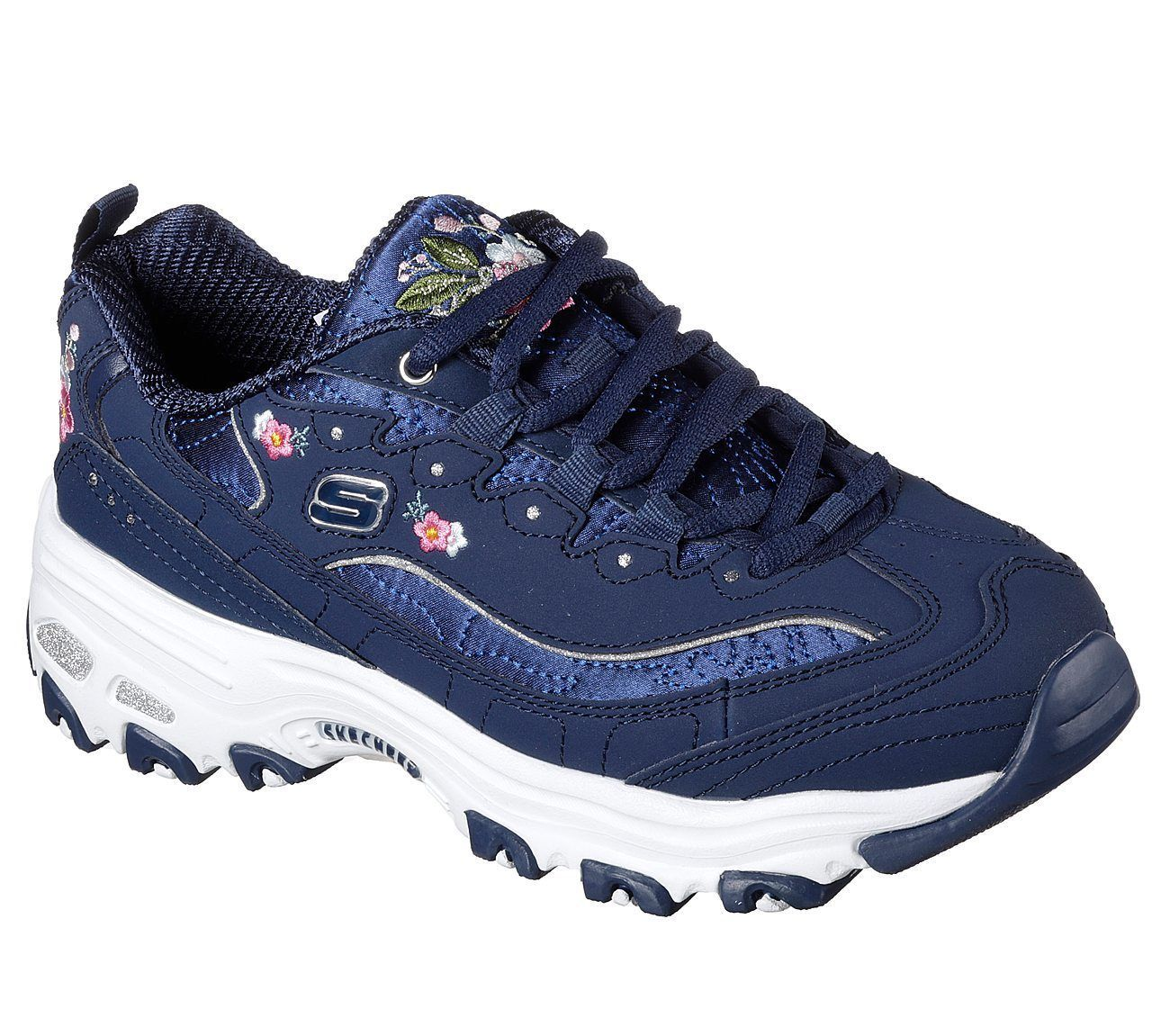 11977 Navy Dlites Skechers Shoes Women Sporty Casual Comfort Memory Foam Floral image 1