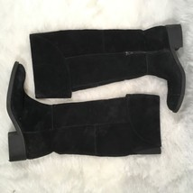 Nine West Women's Knee High Black Suede Cuffed Fold-over Boots Sz 37 Zip... - $37.39