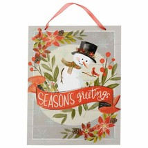 "Season's Greetings Christmas Decor Snowman Winter Hanging Sign 13.5"" w - $5.99"