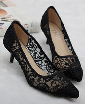 Black See Through Lace Women shoes for Evening low heel Size 5.5,6,7,7.5,8,8.5,9 - $39.99