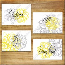 Yellow Gray Modern Floral Wall Art Prints Decor YOU are MY SUNSHINE Insp... - $13.99