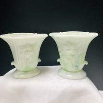 Vintage Akro Agate Set Of 2 Green White Swirl Slag Glass Lily Vases Trop... - $31.14