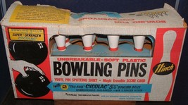 "Vintage TRANSOGRAM Championship Bowling Game 11"" Plastic Pins-4"" Bowling... - $39.59"