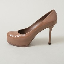 YSL Beige Patent Leather Tribute Two Platform Pumps Women'sY Size 37.5 - $295.00