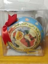 Vintage 1996 Enesco Cherished Teddies Round Christmas Ornament Santa Bear - $9.89