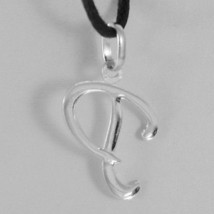 18K WHITE GOLD PENDANT CHARM INITIAL LETTER P, MADE IN ITALY 0.9 INCHES, 23 MM image 2