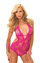 NEW LEG AVENUE WOMEN'S PREMIUM SEXY STRETCH LACE V HALTER TEDDY PINK 81375