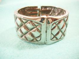 Vintage Antiqued Quilted Silver Plate Wide Bangle Bracelet Clamper Hinge... - $14.85