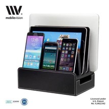 MobileVision Charging Station Slim Black Faux Leather Executive Stand an... - €52,18 EUR