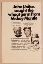 1971 Print Ad Kretschmer Wheat Germ Johnny Unitas & Mickey Mantle - $8.89