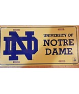 University of Notre Dame Metal Embossed Front License Plate Car Tag  - $12.86