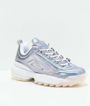 Nuevo Fila Disruptor II Metalizado Plata y Blanco Zapatillas Mujer - $109.93