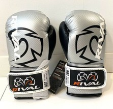 Rival Boxing Bag Gloves RB7 Fitness Hook And Loop New Silver Black Size ... - £25.05 GBP