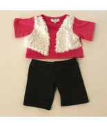 Build A Bear Workshop BABW Clothes Outfit Pink Top Vest Sparkles and Bla... - $12.99