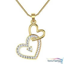 Double Heart Shape Pendant Yellow Gold Plated Sterling Silver Round Cut ... - £34.92 GBP