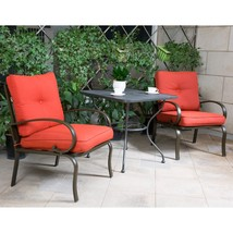 "3 PC Outdoor Bistro Patio Furniture Set Wrought Iron 30"" Steel Rectangle... - $259.99"