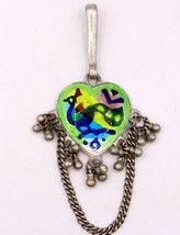 Original Antique Old Silver Waist Key Chain Chhlla Belly Dance Peacock Enamel - $142.55