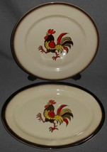 Set (2) Metlox RED ROOSTER PATTERN Round and Oval Platters CALIFORNIA - $29.69
