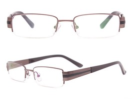 Men's Classic Stainless Steal Rectangle Eyeglass Frames Half Rim Rx-able... - $13.99