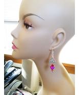 cat in basket heart EARRINGS long dangle drops bead purple red handmade ... - $5.99