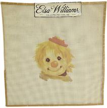 Vintage Needlepoint Hand Printed Elsa Williams Needle Art Clown w Red Hat - $21.38