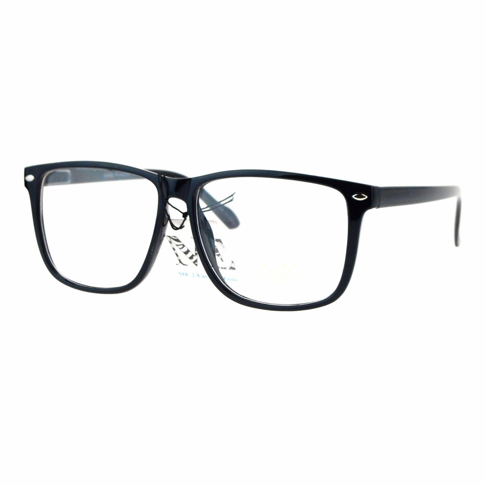 Clear Lens Glasses Unisex Fashion Eyeglasses Square Spring Hinge Frame