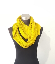Twisted Crochet Infinity Scarf Shoulder Wrap Ruana Mustard Yellow One Size  image 7