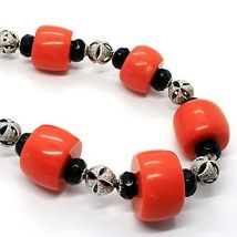 SILVER 925 NECKLACE, ONYX BLACK ROUND, DISCS OF CORAL, ALTERNATING image 3