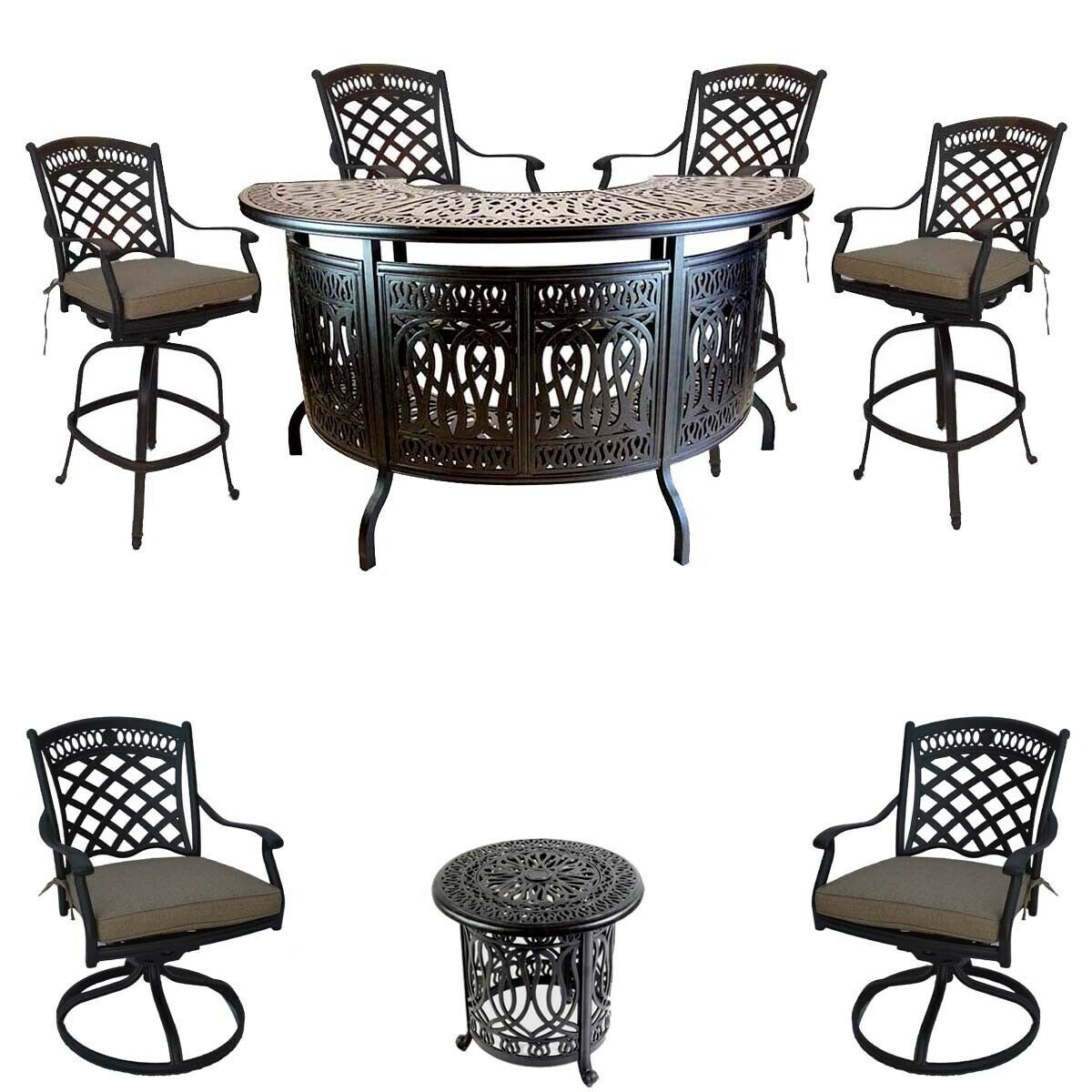 8 piece patio cast aluminum party bar and swivel bistro set with Sunbrella seats
