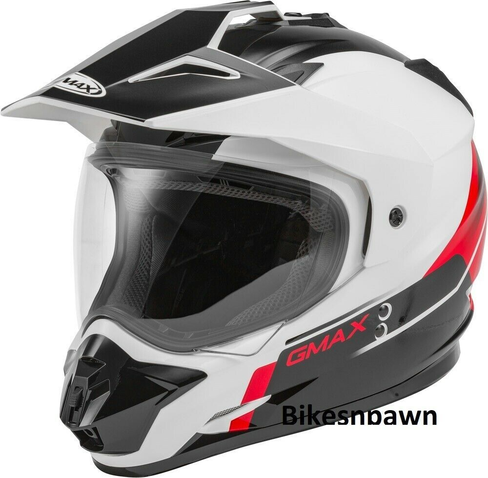New L GMax GM-11 Scud Black/White/Red Dual Sport Adventure Helmet DOT