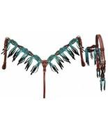 Western Saddle Horse Bridle Headstall + Breast Collar w/ Fringe Leather ... - $97.81