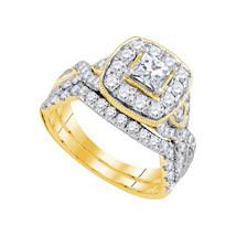 14k Yellow Gold Princess Diamond Bridal Wedding Engagement Ring Set 2.00 Ctw - $3,599.00