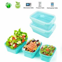 Thin Bins Collapsible Containers with Lids – Set of 4 Silicone Food Stor... - $11.69