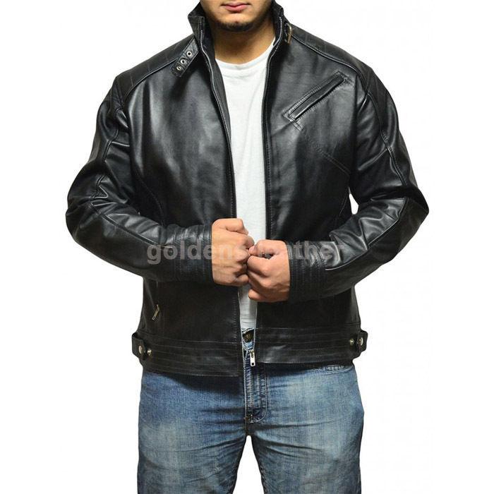 New Men's Stylish Lambskin Genuine Leather Motorcycle Biker Slim Fit Jacket GN28