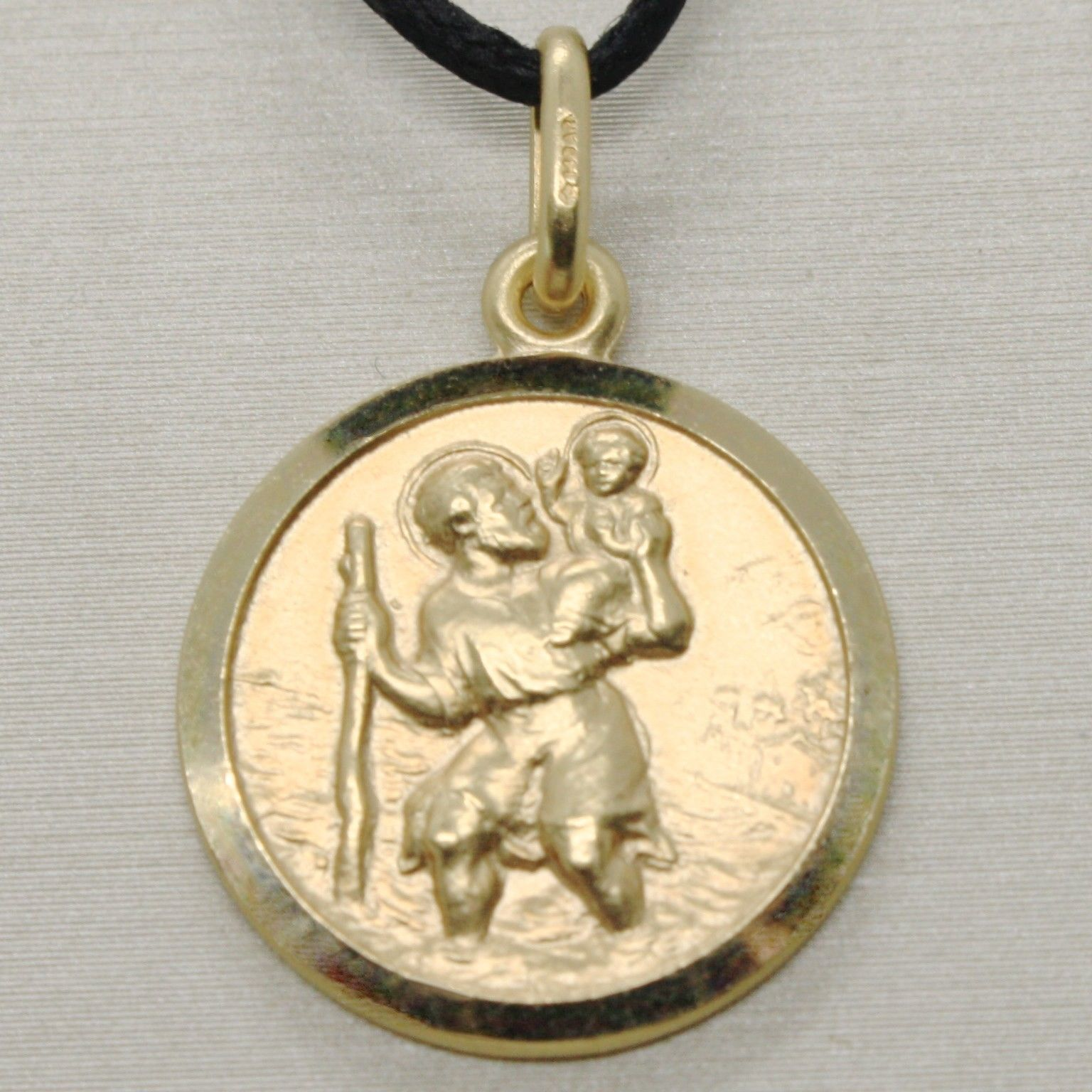 SOLID 18K YELLOW GOLD ST SAINT SANT CRISTOFORO CHRISTOPHER MEDAL DIAMETER 17 MM