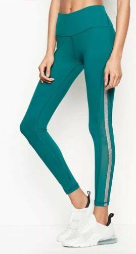 Victoria's Secret Sport Knockout Tight Green Foil Silver mesh Sides Leggings XS image 2