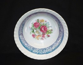 "Old Vintage 7"" Cereal Bowl w Pink Red Roses Aqua Blue Trim & Swirl Edges - $14.84"
