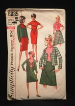 Vintage Simplicity Sewing Pattern 6085 Miss Size 12 Dress Blouse Jacket ... - $6.92