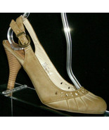 MIA Amparo brown man made round toe scalloped buckle slingback heels 6.5M - $4.99