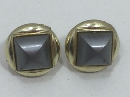 Vintage Gray Clip On Screw Back Earrings Round Disk 24607 - $14.80