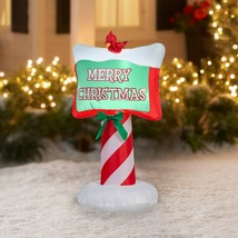 Holiday Time Merry Christmas Sign With Red Bird Airblown Inflatable 3.5'... - $32.66