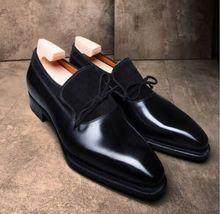 Handmade Men's Black Leather Tassel Slip Ons Loafer Shoes image 1