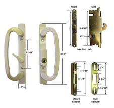 Glass Patio Door Handle Kit Mortise Lock & Keepers, B-Position, Beige, K... - $65.29