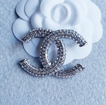 AUTHENTIC CHANEL Baguette Crystal Large CC Silver Brooch Pin MINT image 2