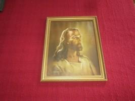 "Framed SALLMAN Signed JESUS PORTRAIT - 1941 Kriebel & Bates  - 12.5"" x 1... - $19.80"